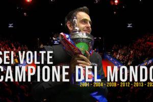 Ronnie O'Sullivan Campione del Mondo 2020